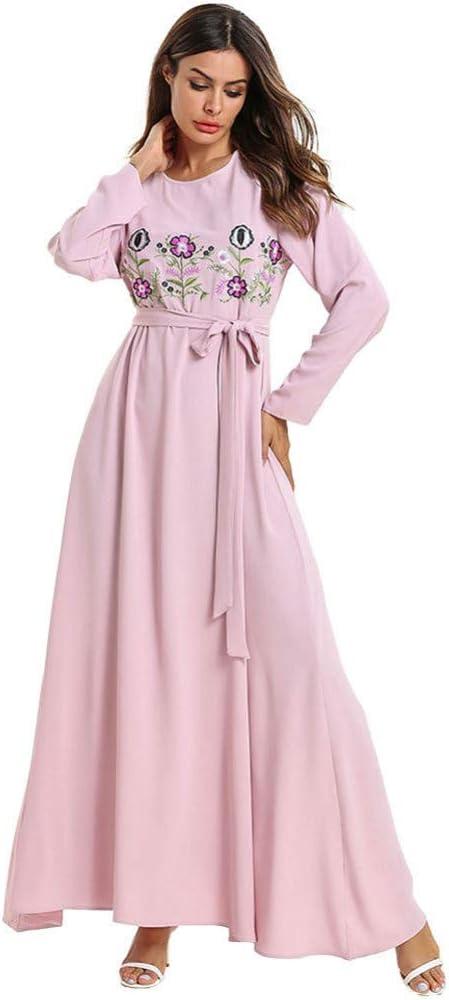 ASGHILL Vestido Falda Larga Bordada de Costura del Color sólido de ...