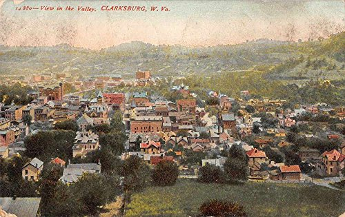 Clarksburg West Virginia panoramic aerial view of valley antique pc - View Virginia Valley
