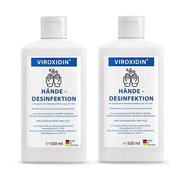 Viroxidin-Desinfektionsmittel-fr-Hnde-Viruzid-83-Alkohol-Ethanol-Hygienische-Handdesinfektion-gegen-Bakterien-Viren-Pilze-zum-Einreiben-2-x-Hnde-Desinfektionsmittel-500ml-1000ml