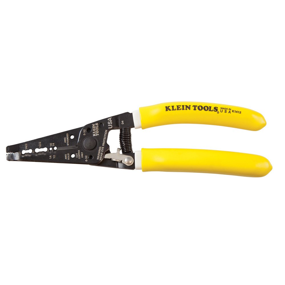 Wire Cutter and Wire Stripper, Cuts Solid Copper Wire, Strips 12 and 14 AWG Solid Wire Klein Tools K1412 by Klein