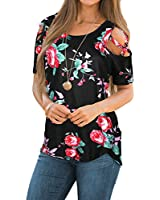CEASIKERY Womens Floral Blouse Loose Strappy Cold Shoulder Tops Casual T Shirts