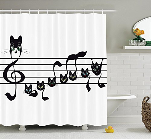 Music Decor Collection, Notes Kittens Cat Artwork Notation Tune Children Halloween Style Pattern, Polyester Fabric Bathroom Shower Curtain Set with Hooks, Black Green Blue 72x78inch -