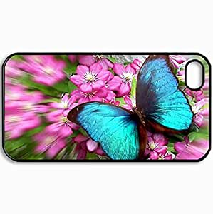 Personalized Protective Hardshell Back Hardcover For iPhone 4/4S, Jade Butterfly Design In Black Case Color