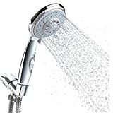 Handheld Shower Head with Hose, 5 Spray Setting Hand Held Shower Head with Pause Switch, 4.3'' High Pressure Showerhead, 60'' Extra-long Hose and Adjustable Bracket,Chrome Handle Finish