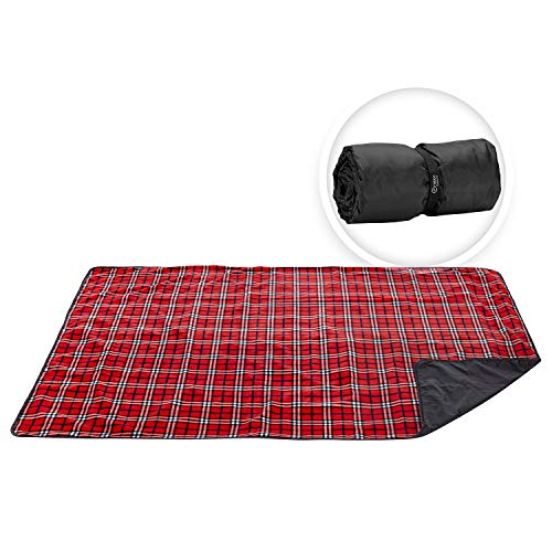 - Premium Extra Large Picnic & Outdoor Blanket with Improved Backing, Carrying Buckle, Machine Washable (Red)