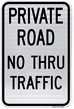 """Private Road Residents Only Sign Black on White 12/""""X18/"""" Reflective Sign"""