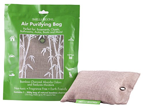 Smells Begone Air Purifier Odor Eliminator Bag - Made with Natural Bamboo - Eliminates and Absorbs Odors from Bathrooms, Cars, Boats, Closets, RVs and Pet Areas -Fragrance Free - Non-Toxic (200g)