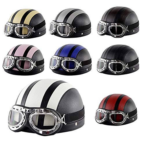 Evin Half Helmet in Summer Motorcycle, Cruiser DOT Approved Novelty Motorcycle Harley Helmet (with Goggles),Black