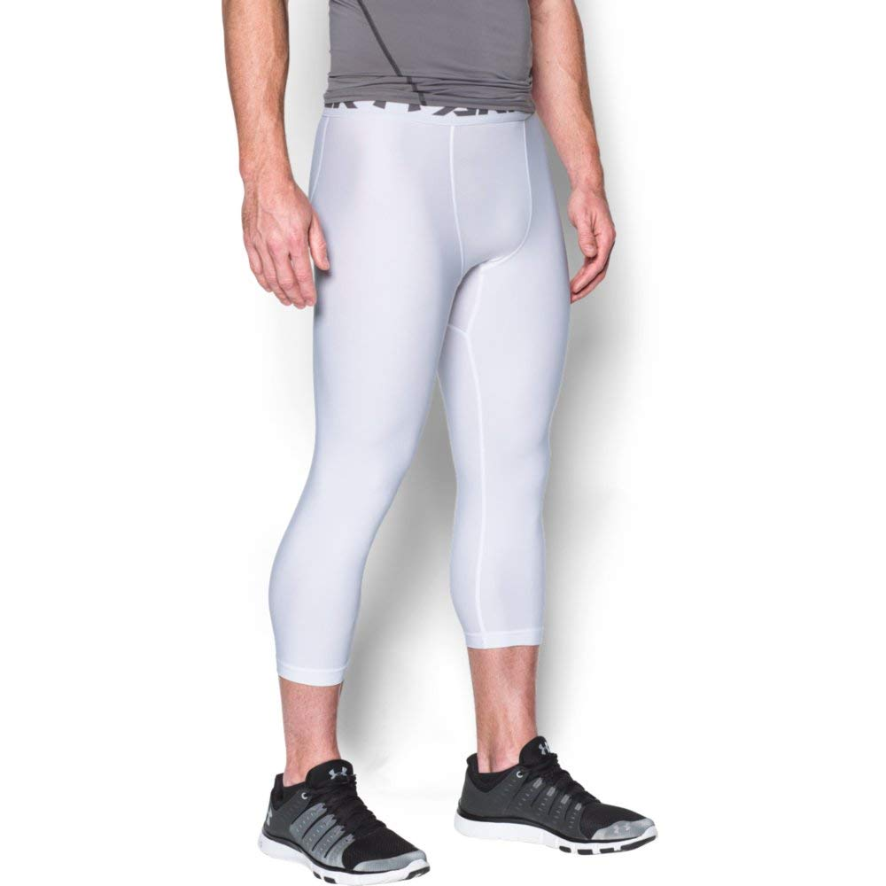 Under Armour Men's HeatGear Armour 2.0 ¾ Leggings, White (100)/Graphite, X-Small