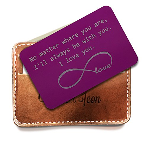 Personalized Stainless Steel Wallet Love Note Insert, Purple Metal Wallet Card, Infinite Love Symbol, I'll be Always be with You, Best gifts for Groom, Deployment Gifts for Him by Rainmon