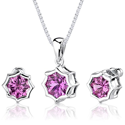 - Created Pink Sapphire Pendant Earrings Set Sterling Silver Rhodium Nickel Finish Snowflake 8.75 Carats
