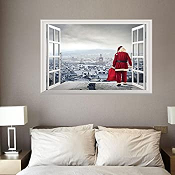 Amazoncom Highpot D Fake Windows Wall Stickers Removable Faux - Christmas wall decals removable
