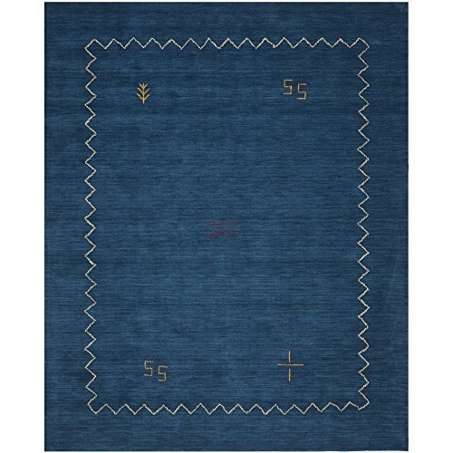 Safavieh Himalaya Collection HIM583A Handmade Blue Premium Wool Area Rug (5′ x 8′)