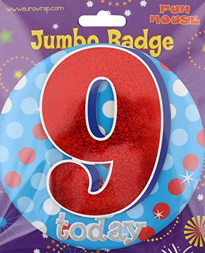 girls birthday party large 9 today boys big jumbo giant badge 9th age 9