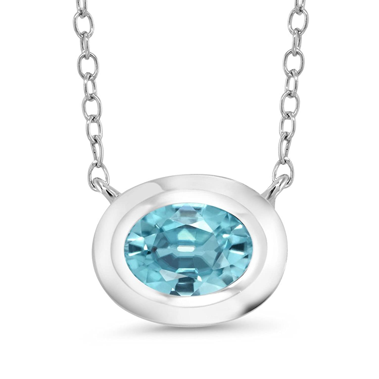 1.20 Ct Oval Blue Zircon 925 Sterling Silver Pendant With Chain