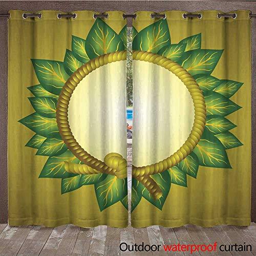 RenteriaDecor 0utdoor Curtains for Patio Waterproof Leaf Frame Oval Round W72 x L108