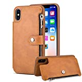 Aearl Samsung Galaxy S9 Plus Zipper Wallet Case,Galaxy S9 Plus Leather Case with Card Holder,Flip Folio Credit Card Slot Money Pocket Magnetic Detachable Buckle Wallet Phone Case for Women Men-Brown