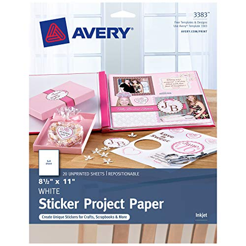 Avery Printable Sticker Paper, Matte White, 8.5 x 11 Inches, Inkjet Printers, 20 Sheets (44383) -