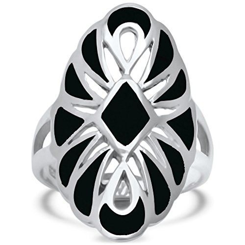 Sterling Silver Simulated Black Onyx Filigree Design Ring Sizes (Filigree Design Ring Ring)