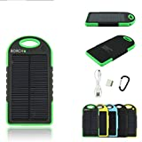 Solar Phone Charger - Borch Solar Portable Phone Battery Charger 5000mah Power Bank and Travel Charger. Utilizing Both Solar And/or Electrical Energy to Fully Charge Wireless Devices on the Go. Shockproof, Dustproof & Rainproof Provides the Freedom to Travel Anywhere with the Borch Solar Power Charger. External Battery Pack Compatible with Iphone 6 5.5 4.7 Inch 5s 5c 5 4s 4, Ipad Air, Other Ipads, Ipods(apple Adapters Not Included), Samsung Galaxy S5, S4, S3, Note 3, Note 4 Galaxy Tab 3, 2, Nexus 4, 5, 7, 10, HTC One, One 2 HTC One M8 ,Motorola Atrix, Droid , Lg Optimus, Most Kinds of Android Smart Phones and Tablets,windows Phone, Gopro Camera and More Other Kindle, Nook, and All Standard USB 5v/1a Devices. (Black/green)