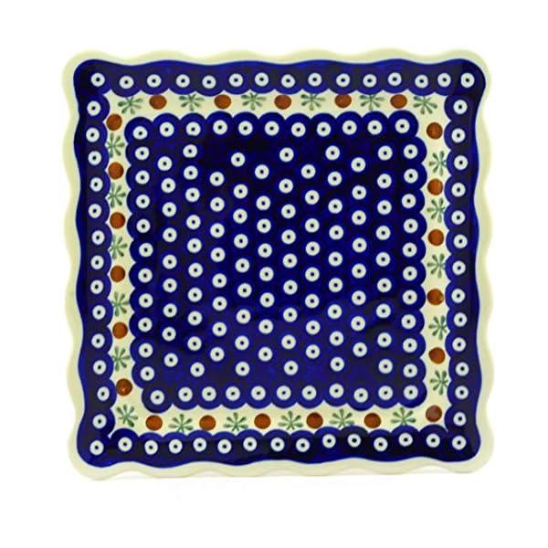 Polish Pottery Boleslawiec Platter, Square Plate, Large, 24cm in RED DOT pattern