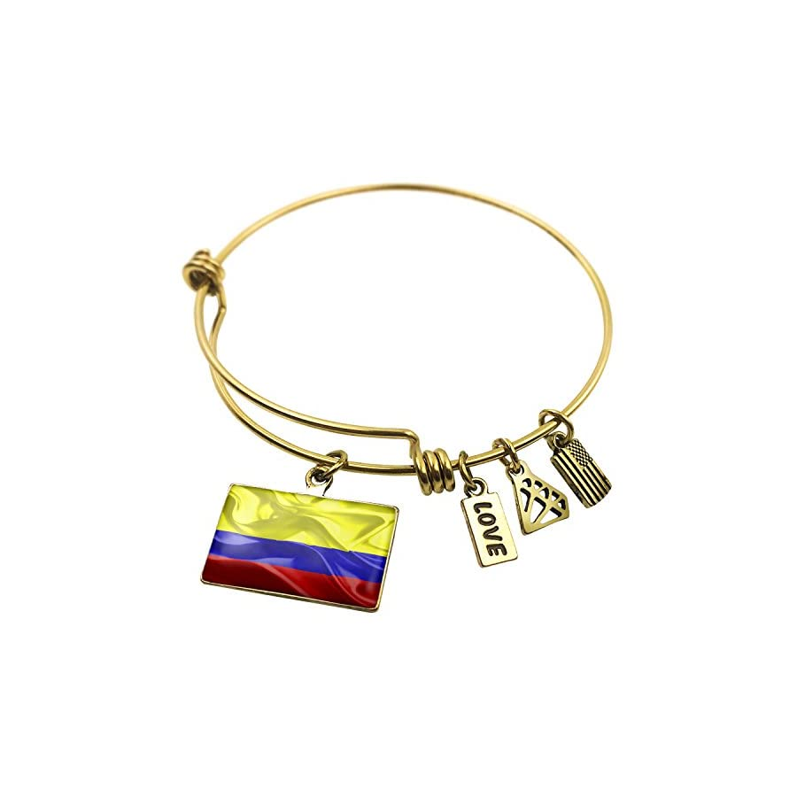 NEONBLOND Expandable Wire Bangle Bracelet Colombia 3D Flag