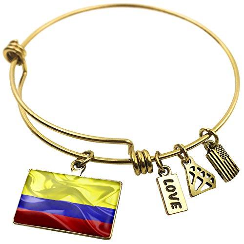Expandable Wire Bangle Bracelet Colombia 3D Flag, Neonblond