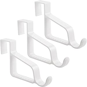 InterDesign Over Door Valet Hook for Clothes Hangers, Storage for Coats, Hats, Robes, Clothes or Towels - Single Hook, White, Pack of 3