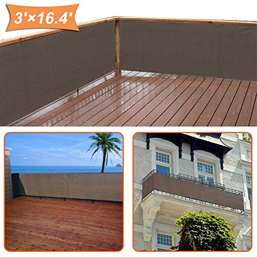 zimo Balcony Privacy Shield UV Protection Opaque Weather-Resistant Balcony Cover (Grey) 3×16.4' from zimo