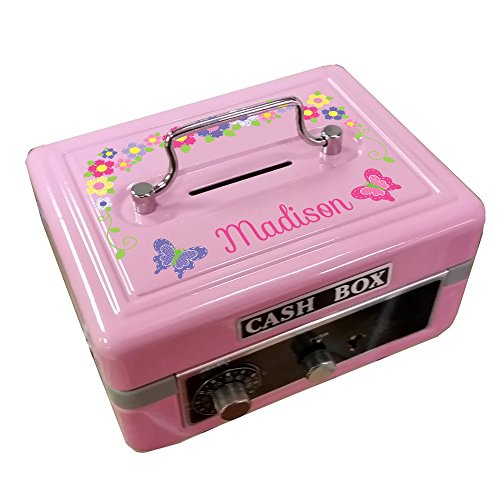 Bank Flower Pink (Personalized Pink Butteflies and Flowers Cash Box)