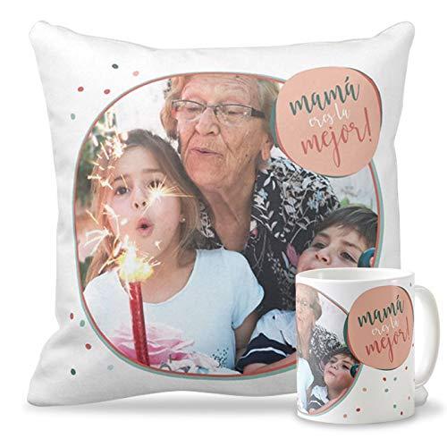 Getsingular Pack Taza + Cojín con Foto para el Día de la Madre   Tazas cerámica Cojín 40x40 cm Relleno Incluido   Varios diseños   Regalos Cumpleaños, ...