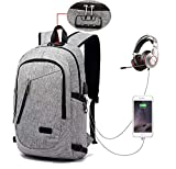 FLYMEI Laptop Backpack with USB Charging Port and Lock & Headphone Compartment, Fits 12-16 inch laptop and Notebook, Waterproof School Rucksack Business Knapsack Travel Daypack College Bookbag , Grey