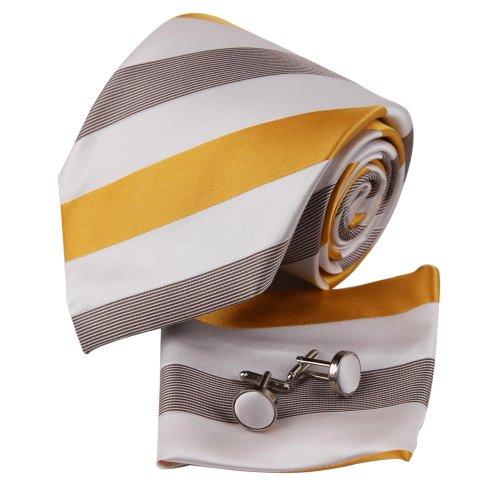 New Designer Yellow Gold Stripes 100% Jacquard Woven Silk Tie Hanky Mens Necktie And Cuff Links White Ties Cufflinks And Handkerchiefs Set H5023 One Size gold,yellow (Designer Cufflinks White Gold)