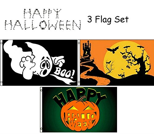 ALBATROS 3 ft x 5 ft Happy Halloween 3 Flag Set #1 House Banner Grommets for Home and Parades, Official Party, All Weather Indoors Outdoors