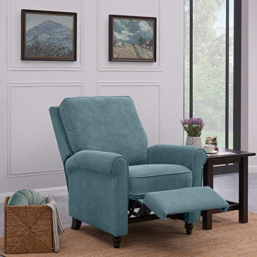 Domesis Chester Hill Push Back Recliner Chair in Medium Blue Chenille ()