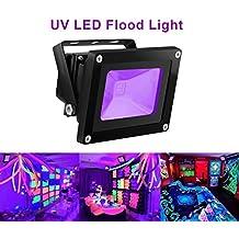 UV LED Black Light, HouLight High Power 10W Ultra Violet UV LED Flood Light IP65-Waterproof (85V-265V AC) for Blacklight Party Supplies, Neon Glow, Glow in the Dark, Fishing, Aquarium, Curing