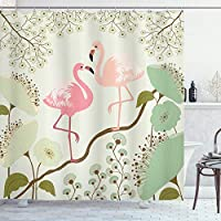 Ambesonne Peacock Shower Curtain, Blossoming Floral Background with Pair of Flamingos on Tree Branch, Cloth Fabric Bathroom Decor Set with Hooks
