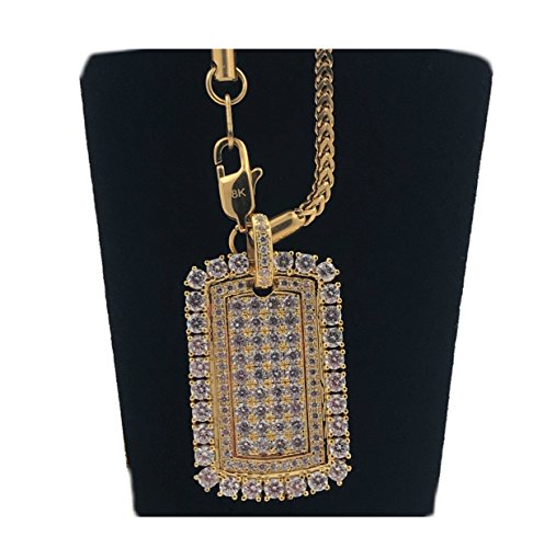 Gold Chain Necklace/Dog Tag Pendant 18 Karat Real Gold Filled with Hand Set Lab Simulated Diamonds, US Product. for $<!--$69.95-->