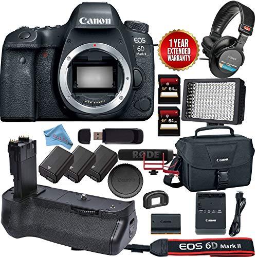 - Canon EOS 6D Mark II DSLR Camera (Body Only) #1897C002 Bundle (Video Kit)