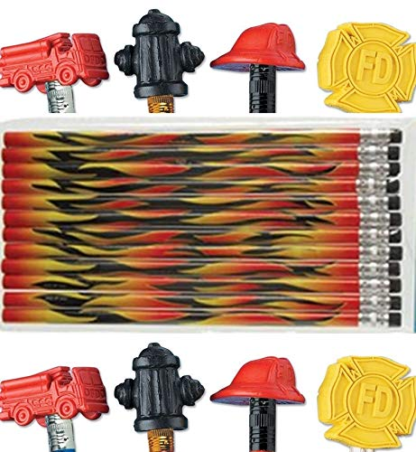 24pc Flame Pencils and 24 Pc Fireman Firefighter Shaped Pencil Topper Erasers - Fire Party Favors -