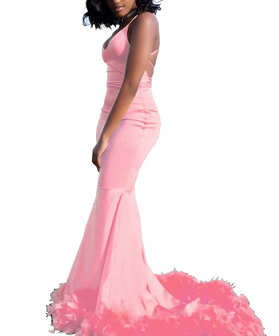Pink Sweet Bridal Women's Long Feathers Spaghetti Straps Open Back Prom Dress Maxi Sweep Train Evening Gown