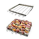 The Ultimate Barbecue Skewers and Rack Set, Six Stainless Steel BBQ Shish Kabob Set, Kabob Skewers for Meat, Chicken , Mushroom, Fruits and Vegetables - Free E-BOOK Included !!