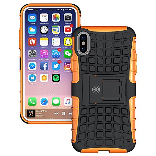 iPhone X Case, iPhone X Case by Cable and Case - [HEAVY DUTY] Tough Dual Layer 2 in 1 Rugged Rubber Hybrid Hard/Soft Impact Protective Cover [With Kickstand] Shipped from the U.S.A. - Orange