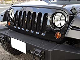 ICars Front Euro Headlight Guards For 2007-2016 Jeep Wrangler JK Unlimited - Pair