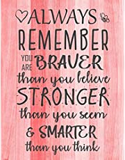Always Remember You are Braver than you believe - Stronger than you seem & Smarter thank you think: Inspirational Journal - Notebook to Write In for Women & Girls