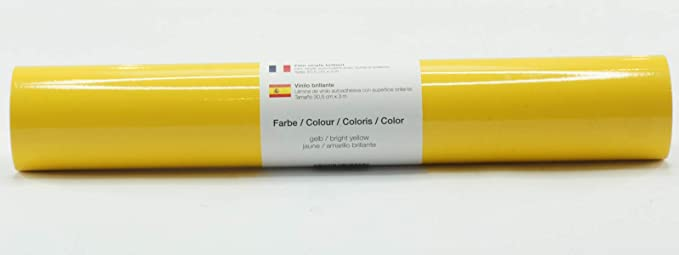 Lámina de plotter autoadhesiva lámina de vinilo 21 cm x 3 m brillo 39 colores a elegir, Glänzend L-Serie:Amarillo Brillante: Amazon.es: Hogar