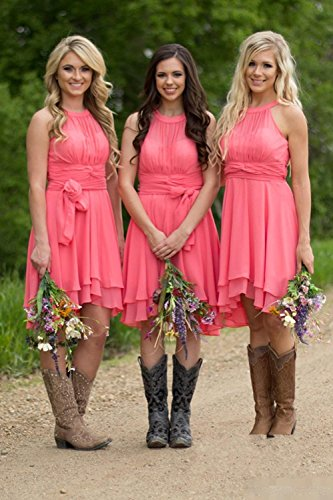 Womens Knee Length Country Bridesmaid Dress Western Wedding Guest