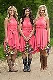 Meledy Womens Knee Length Country Bridesmaid Dress Western Wedding Guest Dress