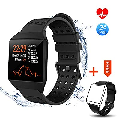 TagoBee Fitness Tracker TB10 Smart Watch, IP68 Waterproof Activity Tracker with Heart Rate Monitor Pedometer Calories Counter Smart Bracelet Compatible with iPhone & Android Men Women