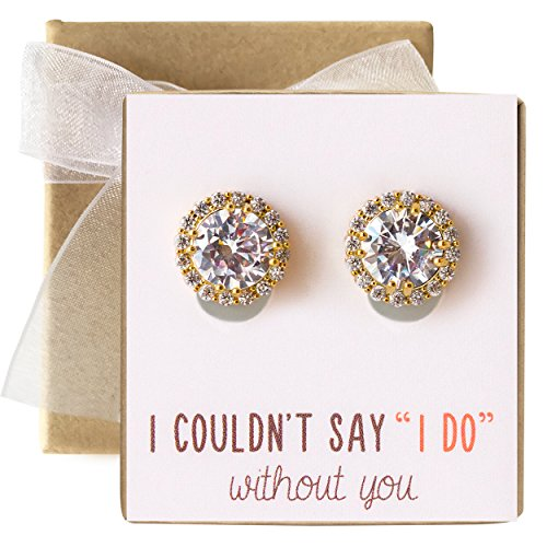 - Bridesmaid Jewelry - Stud Post or Clip-on Earrings in Silver, Gold or Rose Gold